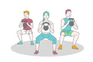 workout and weightlifting exercise vector