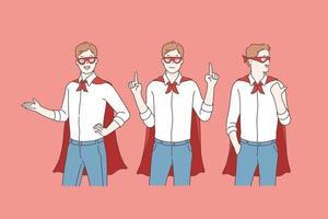 superhéroe de negocios o promoción vector