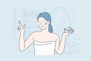 Face cream, care concept. vector