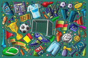 soccer doodle set vector illustration