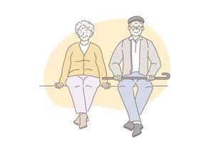 Pensioners, grandparents, older concept. vector