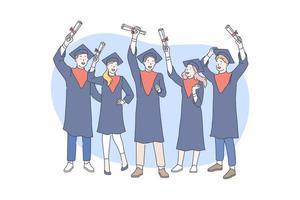 Education, graduation, awarding concept vector
