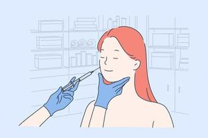 Cosmetology anti wrinkle procedure vector