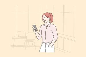 Business, entrepreneurship, selfie concept vector