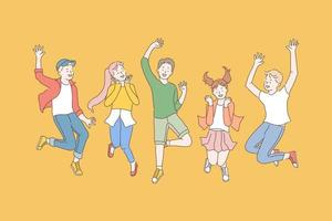 Childhood, friendship, party concept vector