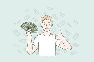 Passive income, money falling, cashback concept. vector