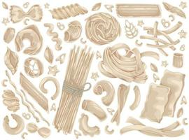 Pasta, noodle, spaghetti, food doodle set vector