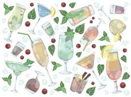 Set of different drinks and alcoholic cocktails vector