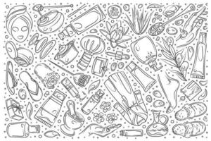 Hand drawn beauty set doodle background vector