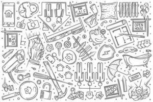 Hand drawn real estate set doodle background vector