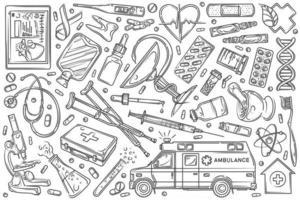 Hand drawn helthcare set doodle background vector
