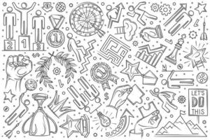 Hand drawn motivation set doodle background vector