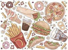 Street meal quick lunch set vector
