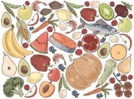 Delicious summer food organic nutrition set vector