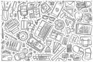 Hand drawn freelancing set doodle background vector