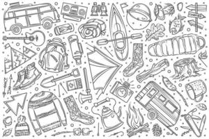 Hand drawn hiking and camping set doodle vector