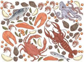 Raw fish seafood set vector