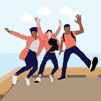 jump with friend in the beach vector