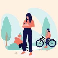 women smartphone and friend in the garden or park or outdoor vector
