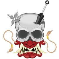 Vector design of ninja skull with japanese hannya mask, kunai and shuriken, hannya mask from japanese folklore