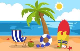 Beautiful Summer Beach Sea Nature Exotic Vacation Illustration 01 vector