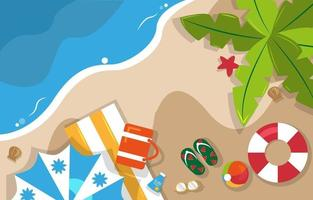 Beautiful Summer Beach Sea Nature Vacation Top View Background Illustration 02 vector