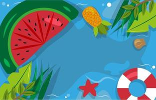 Beautiful Summer Beach Sea Pool Vacation Top View Background Illustration 03 vector