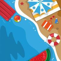 Beautiful Summer Beach Sea Nature Vacation Top View Background Illustration 07 vector