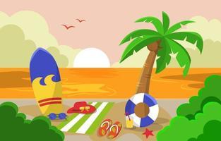 Beautiful Sunset Summer Beach Sea Nature Vacation Illustration 01 vector