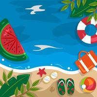 Beautiful Summer Beach Sea Nature Vacation Top View Background Illustration 01 vector