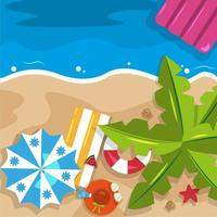 Beautiful Summer Beach Sea Nature Vacation Top View Background Illustration 03 vector