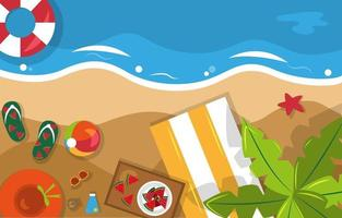 Beautiful Summer Beach Sea Nature Vacation Top View Background Illustration 04 vector