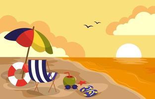 Beautiful Sunset Summer Beach Sea Nature Vacation Illustration 02 vector