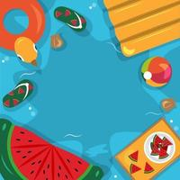 Beautiful Summer Beach Sea Pool Vacation Top View Background Illustration 02 vector