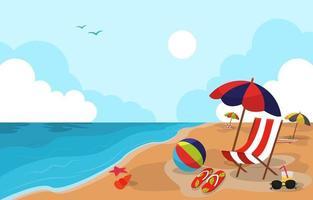 Beautiful Summer Beach Sea Nature Exotic Vacation Illustration 04 vector