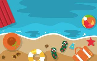 Beautiful Summer Beach Sea Nature Vacation Top View Background Illustration 05 vector