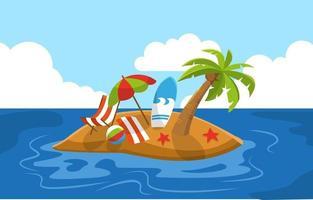 Beautiful Little Island Summer Beach Sea Nature Vacation Illustration 02 vector