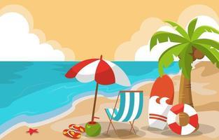 Beautiful Summer Beach Sea Nature Exotic Vacation Illustration 02 vector
