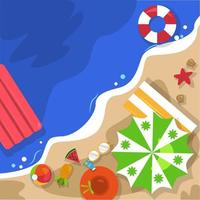 Beautiful Summer Beach Sea Nature Vacation Top View Background Illustration 06 vector