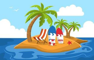 Beautiful Little Island Summer Beach Sea Nature Vacation Illustration 01 vector