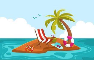 Beautiful Little Island Summer Beach Sea Nature Vacation Illustration 03 vector
