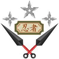 Diseño vectorial de armas kunai ninja con shuriken, elementos de la cultura japonesa y el folclore. vector