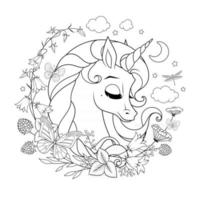 Unicorn surrounded with flowers and butterflies coloring page vector illustration