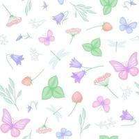 Seamless vector pattern with flowers, butterflies and dragonflies