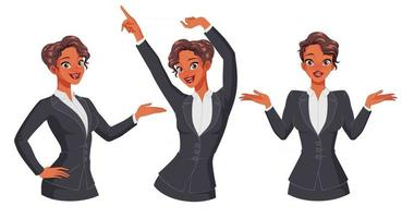 Businesswoman showing dancing shrugging full size under clipping mask set of vector illustrations