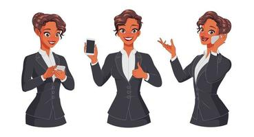 Woman texting calling showing thumb up with smartphone Full length under clipping mask Set of vector characters