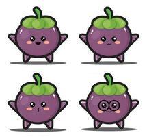 Cute cartoon purple fruit kawaii design premium vector