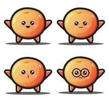 Cute cartoon orange fruit kawaii design premium vector