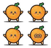 Sweet cartoon fruit kawaii design premium vector