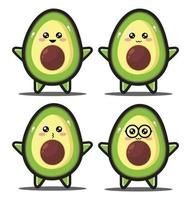 Cute cartoon slice avocado kawaii design premium vector